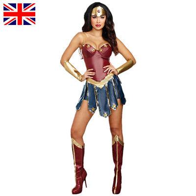 Wonder Woman Outfit Fancy Dress Halloween Cosplay Ladies Superhero Costume