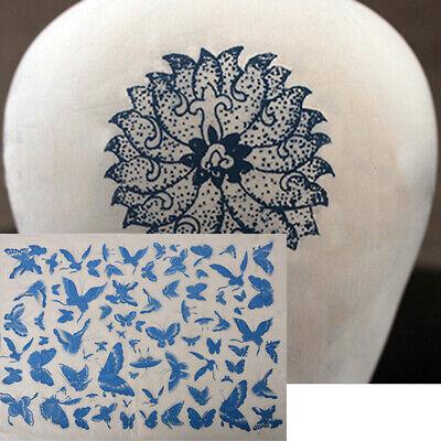 diy transfer paper pottery underglazed butterfly figure