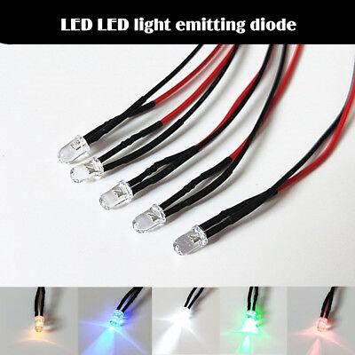 5pcs Flash 3v Emitting Diode Electric Wired Led 5mm Lamp Light 20cm