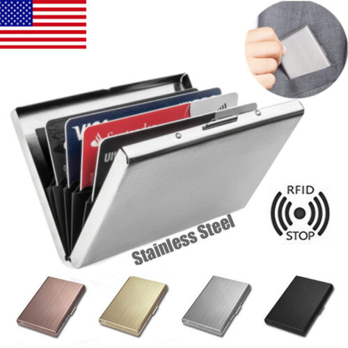 RED Metal RFID Blocking Wallet Slim Anti-Scan Card Holder ID Contactless case