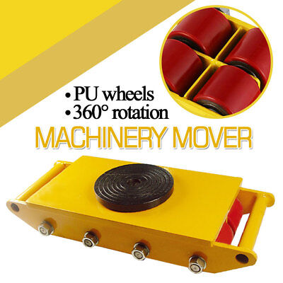 12-ton Heavy Duty Machinery Dolly Skate Roller Mover Cargo Trolley 360 Rotation