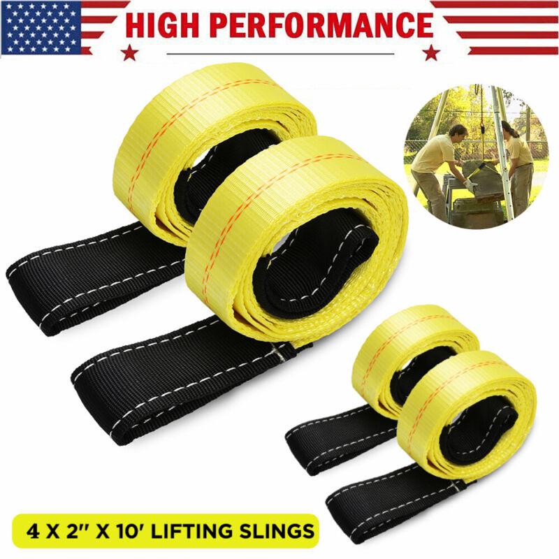 "4x Heavy Duty Lifting Hoist Sling Flat Loop Tow Strap Web Lift Sling 2"" x 10Ft"