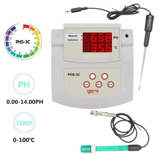 Digital PH Tester 2 IN 1 Auto Calibration Acidity Meter Laboratory Thermometer