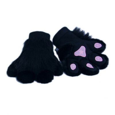 PAWSTAR Pawmitts - Furry Hand Paw Gloves Fursuit Costume Black cat [CLABK]3180](Cat Gloves Costume)