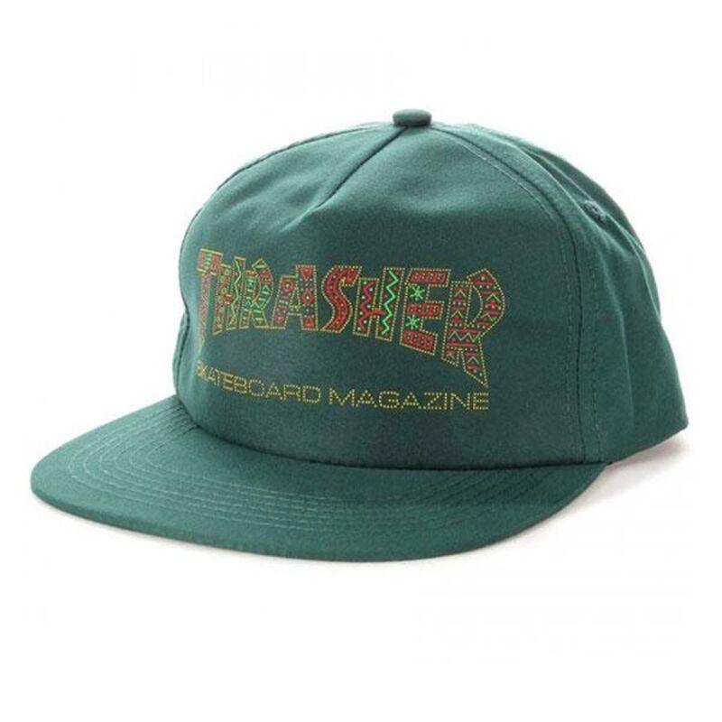 Thrasher Magazine DAVIS UNSTRUCTURED Snapback Skateboard Hat FOREST GREEN