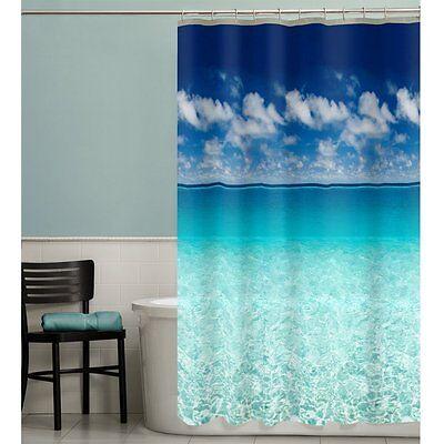 Beach Scene Shower Curtain Ocean Vinyl 72 Inch Photo Real Bathroom Sea Sky Decor