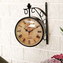 6 Nautical Antique Railway Brass Victoria Station Clock Double Side Wall Clock