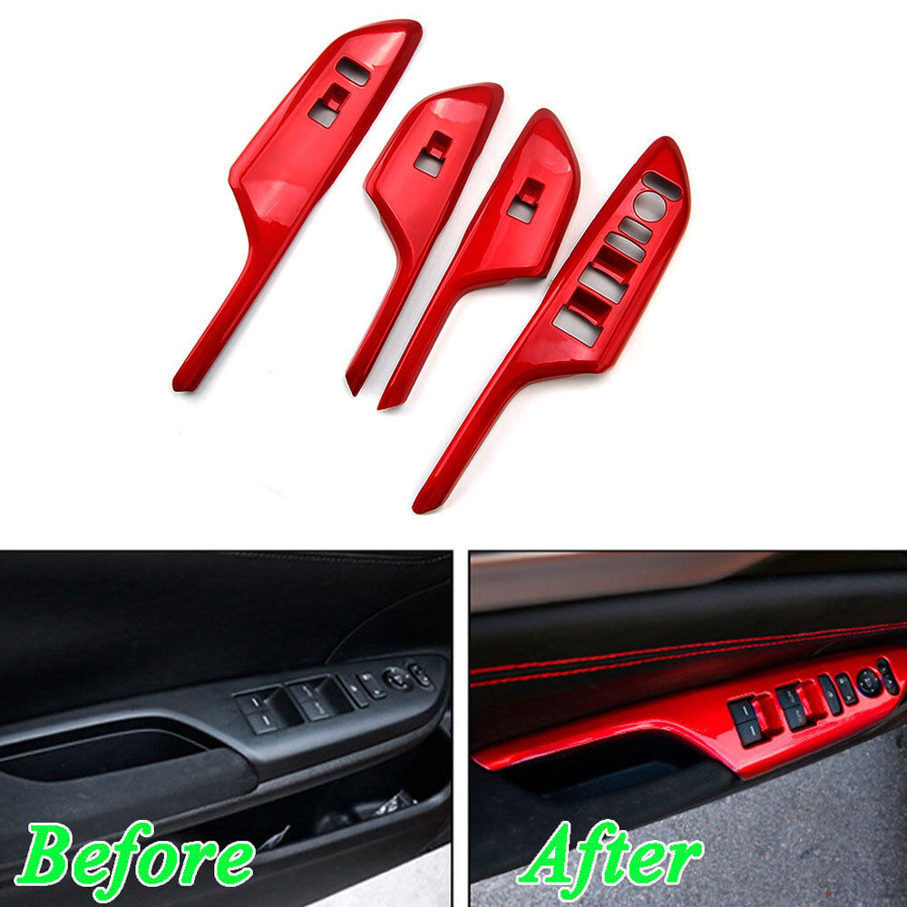 Car Door Armrest Window Lift Switch Panel Trim Red For 16-2018 Honda Civic LHD