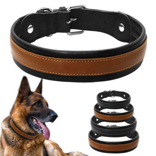 Soft Leather Padded Dog Collars Large Dogs Collar for German