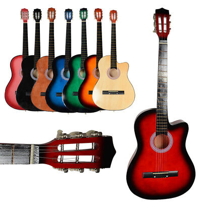 "New 38"" 19 Frets Right Handed Beginner School Student Cutaway Acoustic Guitar"
