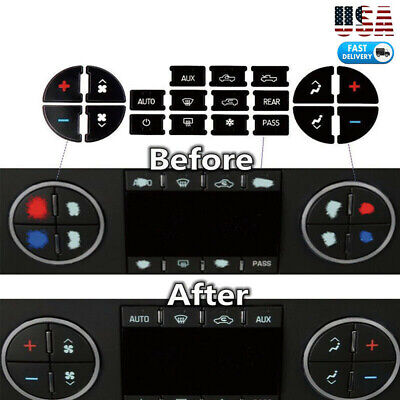 AC Dash Button Repair Kit Decal Stickers Replacement for Chevrolet GMC Tahoe USA