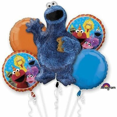 Cookie Monster Sesame Street 5pc Bouquet Birthday Party Foil Balloons Decoration - Cookie Monster Birthday Decorations