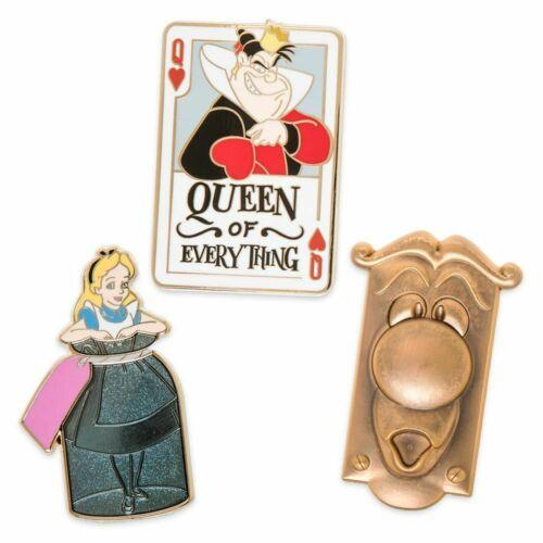Disney Alice in Wonderland 3 Pin Set Queen of Hearts Doorknob NEW