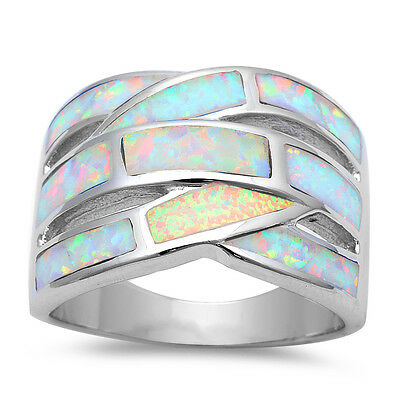 White Fire Opal Band .925 Sterling Silver Ring Sizes 5-11