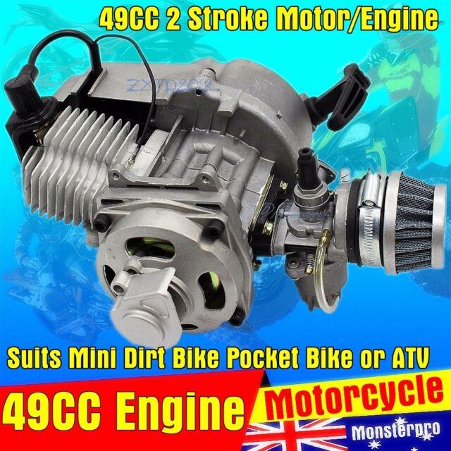 49CC 2 STROKE ENGINE CARBY PULL START MOTORBIKE POCKET BIKE MINI DIRT ATV QUAD