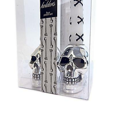 Boston Warehouse Bone Collector Skull Taper Holder Candle Set Gothic - Halloween Bone Collector