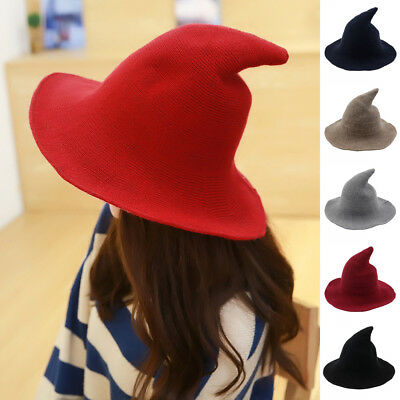 USA Women Lady Wool Modern Witch Hat Sheep Witch Hat Halloween Party Caps 2019 - Halloween Mod