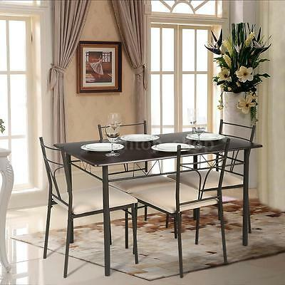 سفرة جديد 5 Piece Dining Table Set Metal Kitchen Table & 4 Chairs Modern Furniture IKAYAA
