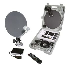 portable space saver satellite system everything you need brand new in box with hard carry case.