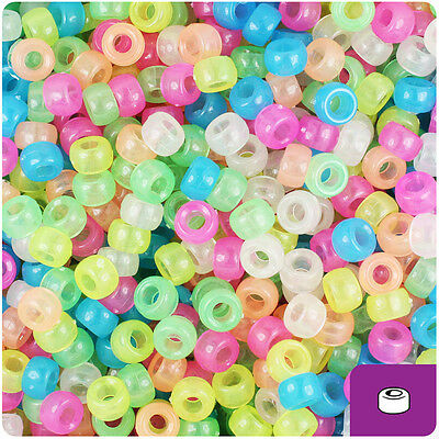 Mixed Pony Beads - 1000 Mixed Colors Glow 7mm Mini Barrel Plastic Pony Beads Made in the USA