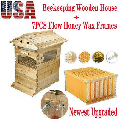 Us 7x Upgraded Auto Honey Hive Beehive Framesbeekeeping Brood Cedarwood Box Kit