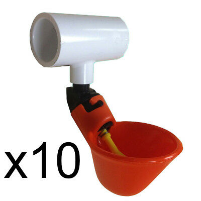 10 Automatic Waterer Drinker Cups 12 Pvc Tee Fittings Chicken Poultry Coop
