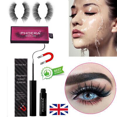 PHOERA Magnetic Eyelashes Liquid Eyeliner Gel Set Perfect 3D Eye Lashes False UK