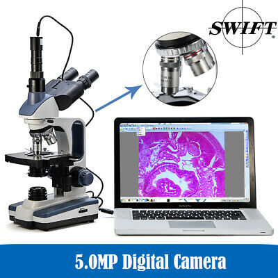 Swift 40x-2500x Science Trinocular Compound Microscope Lab Led 5mp Usb Camera