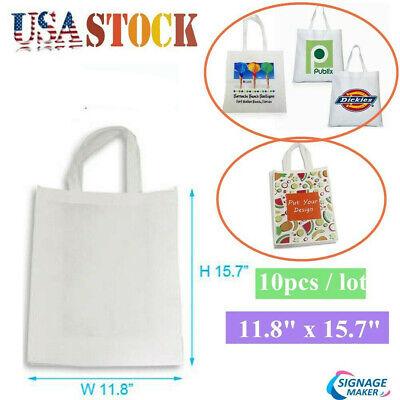 11.8 X 15.7 10pcs Blank Sublimation Non-woven Diy Shopping Bags Tote Bag White
