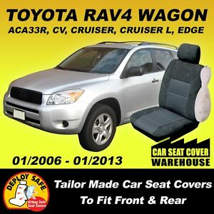 car seat covers to fit toyota rav 4 rav4 front rear 2006 01 2013 airbag safe ebay. Black Bedroom Furniture Sets. Home Design Ideas