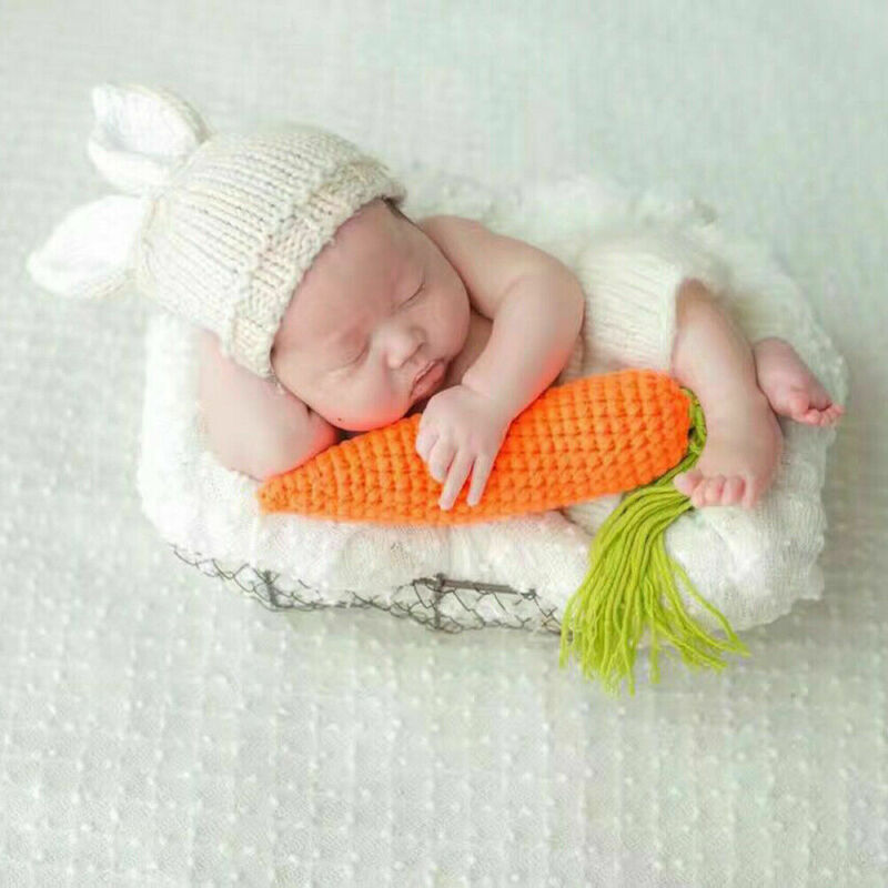 Baby Girl Boy Toddler Newborn Carrot Crochet Knit Photo Photography Props Outfit