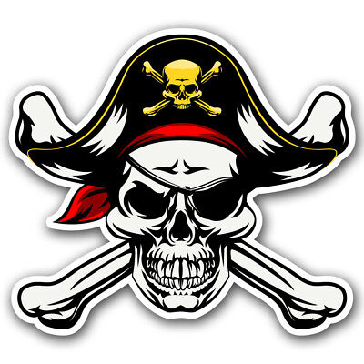 Pirate Jolly Roger Skull and Crossbones Sticker Car Truck Window Helmet Decal - Skull And Crossbones Stickers