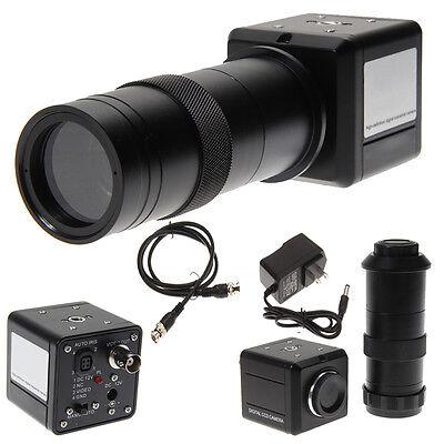 100x Industrial Digital Microscope Camera Bnc Av Tv Video Zoom With C Mount Lens