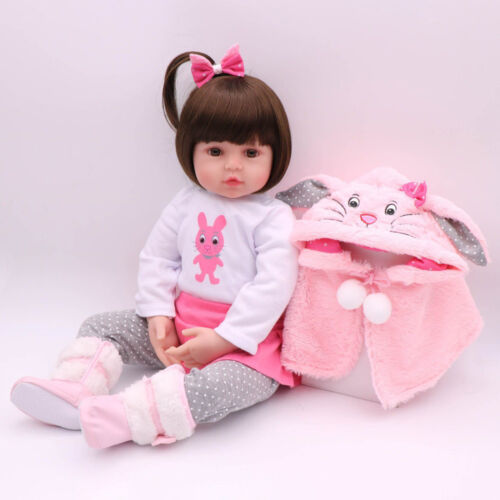"Reborn Baby Girl Dolls 16"" Newborn Silicone Vinyl Handmade Xmas Gifts Doll Toy"