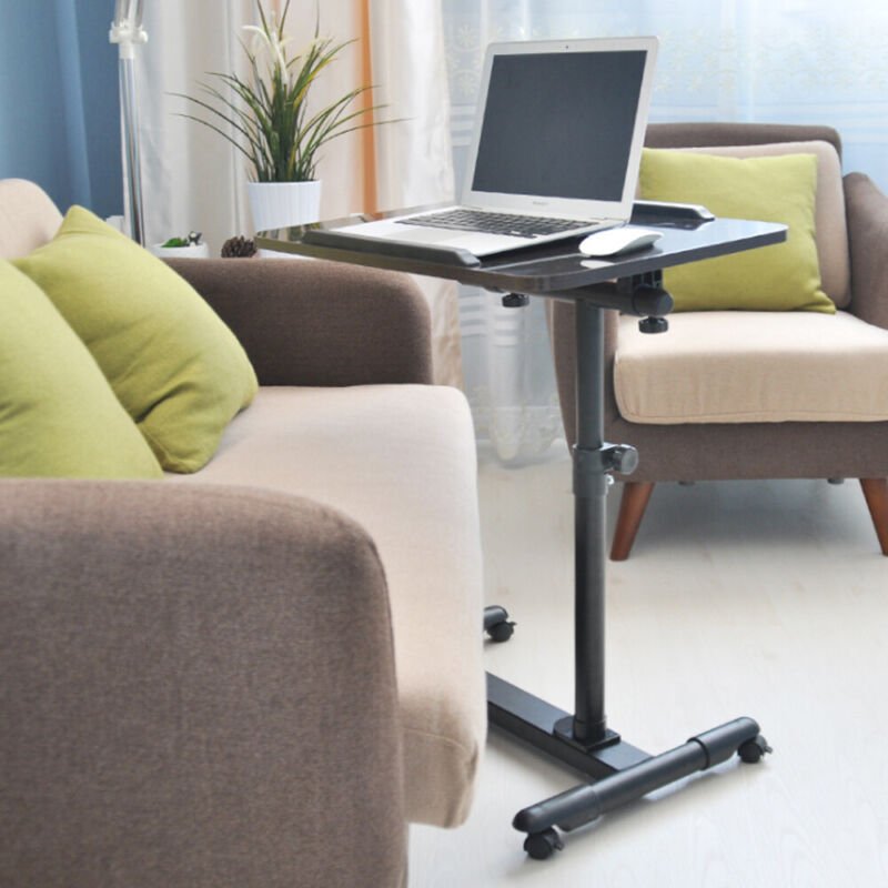 360° Rolling Height Adjustable Laptop Desk Sofa Overbed Food Tray Table Stand US