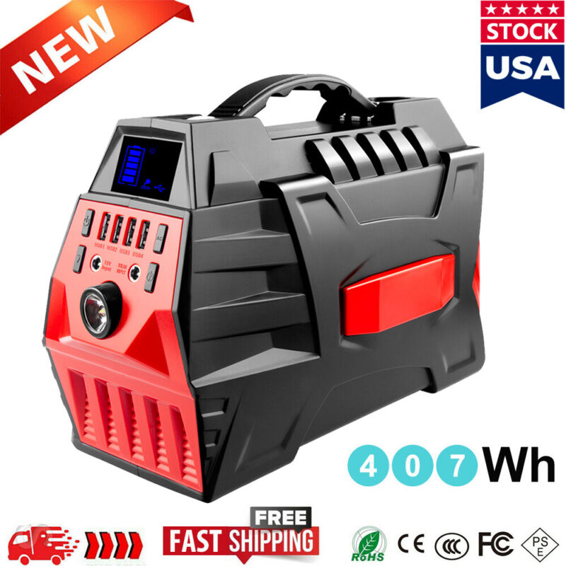 500W 407Wh Portable Power Station Backup Lithium Battery Pack Solar Generator US