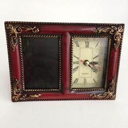 Antique finish red and gold color table photo frame with watch / clock Lot 26I