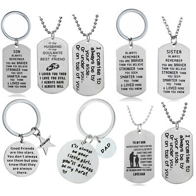 Couple Keyring Tag Pendant Necklace Gift For Husband Boyfriend Lover Best