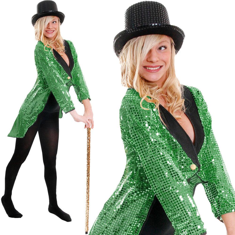 GREEN SEQUIN TAILCOAT UNISEX CABARET FANCY DRESS CIRCUS RINGMASTER DANCE COSTUME