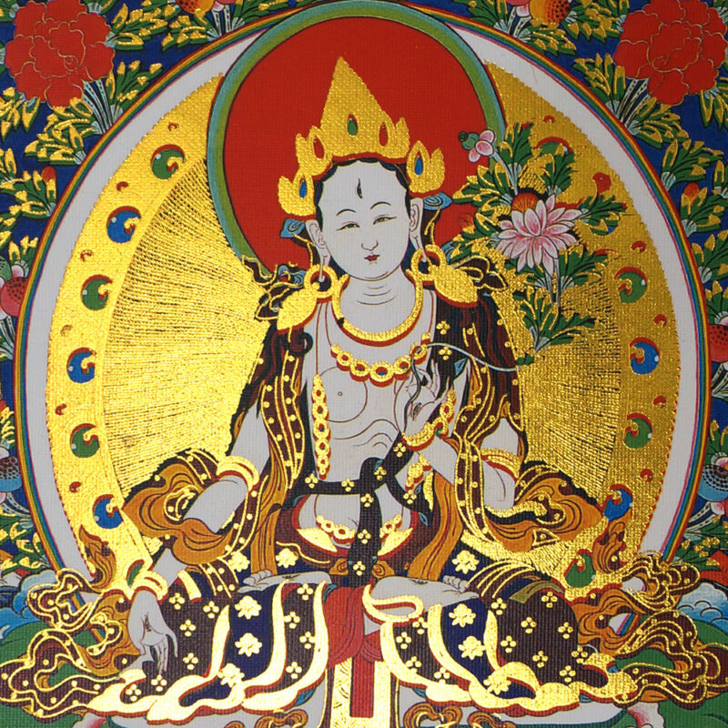 "14"" SILK BROCADED BLESSED SCROLL TIBETAN THANGKA: WHITE TARA GRANTS U LIFESPAN ="