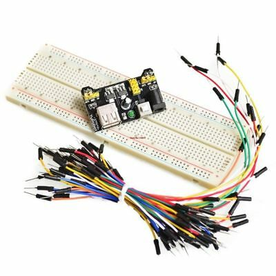 Mb-102 Power Module Breadboard Protoboard 830 Tie Points 2 Buses Jumper Cables