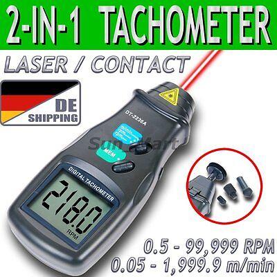 DE Tacho/Min Meter Digital Tachometer Laser Kontakt Drehzahlmesser Max 99.999RPM