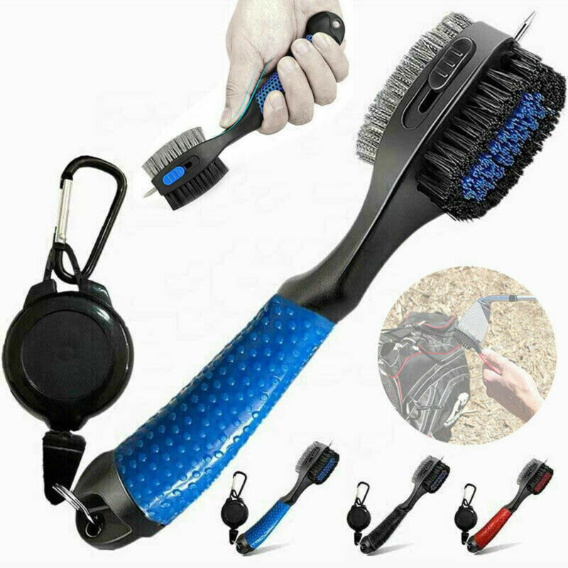 2 Sided Golf Club Brush Cleaner And Retractable Groove Sharpener Tool Durable