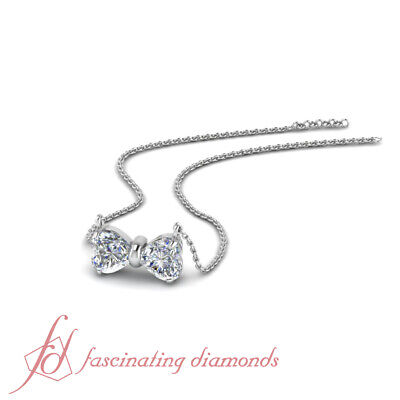 Bow With Diamond Necklace - Affordable Two Heart Shaped Diamond Bow Pattern Necklace With Chain 0.60 Ctw.