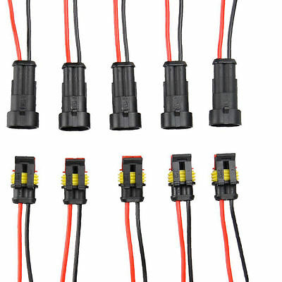 5x 2pin Car Waterproof Electrical Connector Plug With Wire Awg Marine Black Wkhw