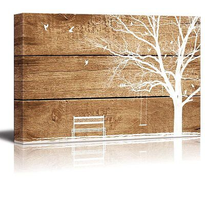 """Canvas Prints Wall Art - Artistic Abstract Tree and Birds - 16"""" x 24"""""""