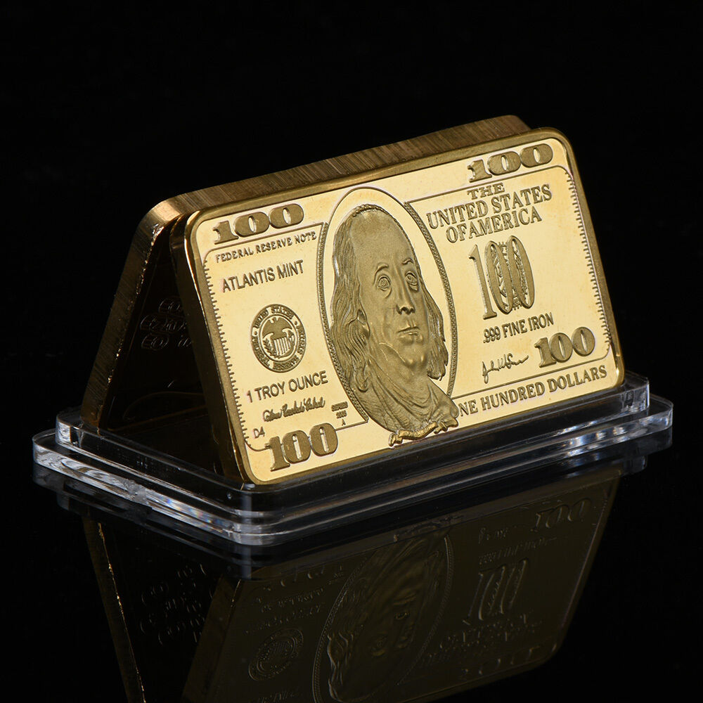 Details about WR Gift US $100 Dollar Bill Banknote Fine Gold Bar Craft In  Capsule