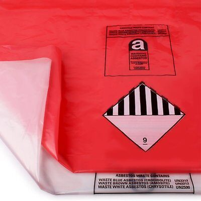 Red & Clear Heavy Asbestos Disposal Bags 900 x 1200mm holds 30kg Made in UK