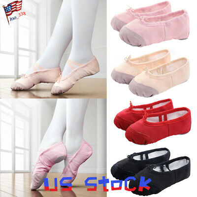 Girls Ballet Fashion Kids Dance Pointe Slippers Shoes Ballerinas Split Sole US (Girls Ballerina Slippers)