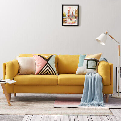 Modern 3 Seater Yellow Fabric Sofa Chair Armchair Couch Settee Home Living Room